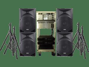Mietangebot: PA Anlage mit PA-Lautsprecher und Stativen, Boxen, Rednerpult, Podest