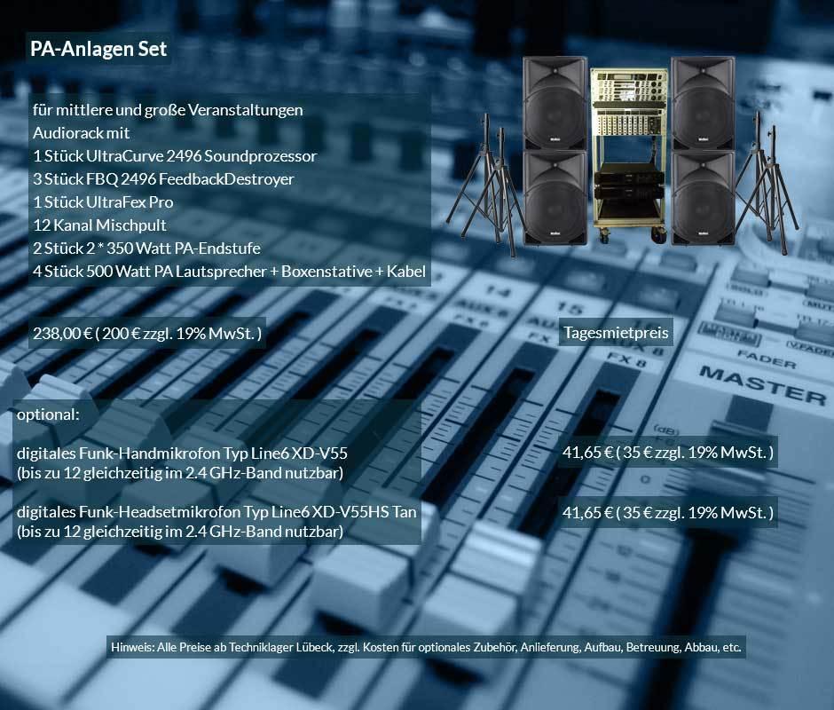 Tonanlage mit mehreren PA Lautsprechern, Verstärkern, Mischpult, Rückkopplungsdämpfern, Klanprozessoren sowie optional Hand- und Headsetfunkmikrofonen sowie Sennheiser ME36 Röhrenmikrofonen für das Rednerpult