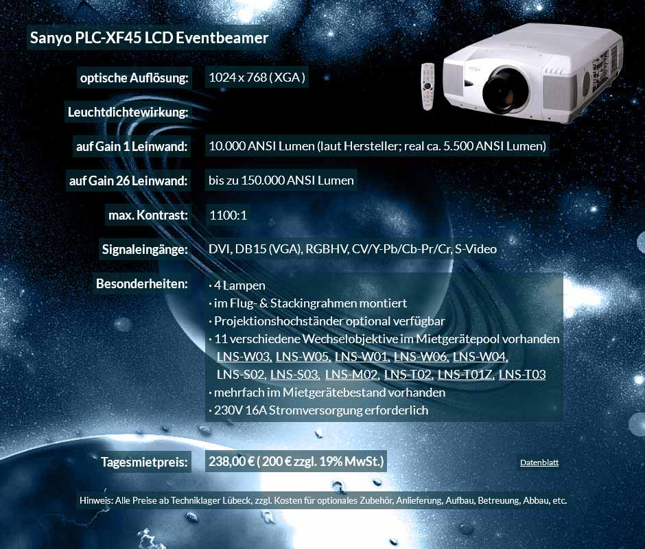 Annonce für Beamervermietung 10.000 ANSI Lumen LCD XGA Eventbeamer Sayno PLC XF 45 für 250 Eur zzgl. MwSt. inkl. Wechselobjektiv zur Auswahl LNS-W03, LNS-W05, LNS-W01, LNS-W06, LNS-W04, LNS-S02, LNS-S03, LNS-M01, LNS-M02, LNS-T02, LNS-T01