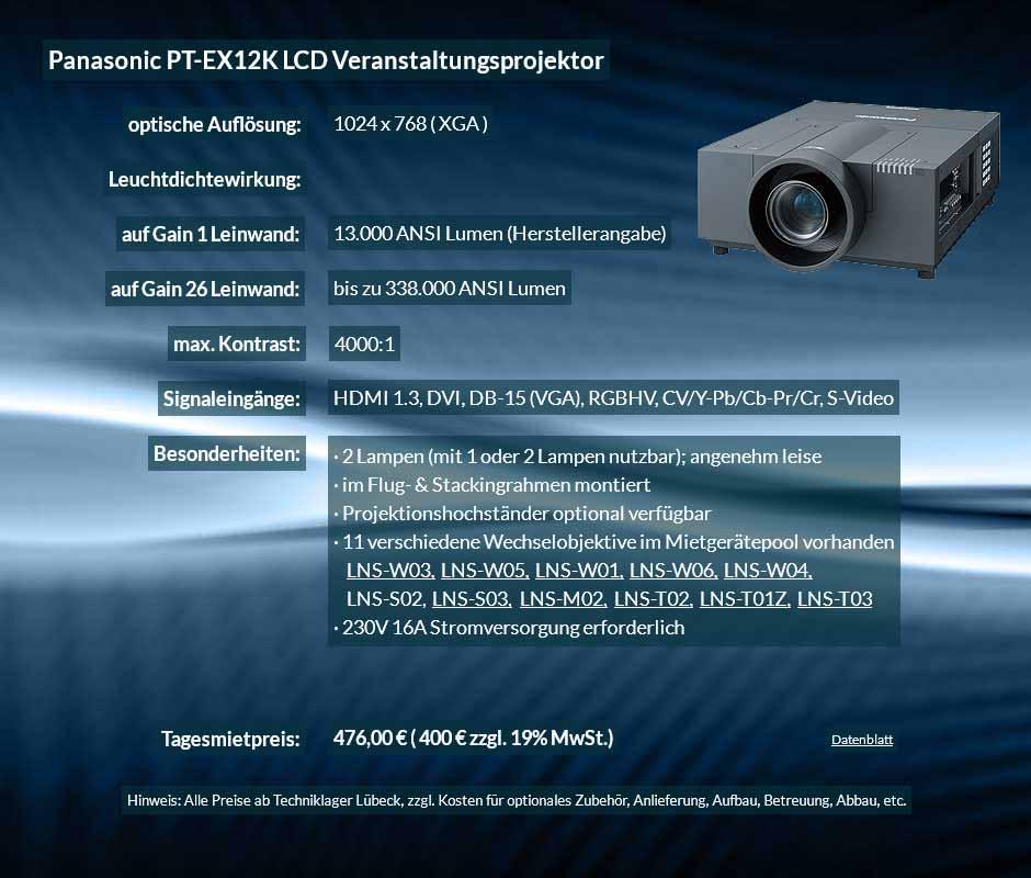 Mietanzeige für XGA Veranstaltungsprojektor mit 13.000 ANSI Lumen für 400 € zzgl. MwSt. inkl. Wechselobjektiv zur Auswahl LNS-W03, LNS-W05, LNS-W01, LNS-W06, LNS-W04, LNS-S02, LNS-S03, LNS-M01, LNS-M02, LNS-T02, LNS-T01