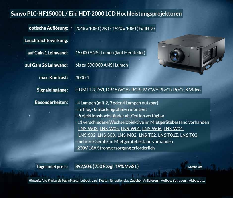 Angebot für Hochleistungsprojektormiete 2K FullHD LCD Hochleistungsprojektor vom Typ Sanyo HF15000L bzw. Eiki HDT 2000 für 750 € zzgl. MwSt. inkl. Wechselobjektiv zur Auswahl LNS-W03, LNS-W05, LNS-W01, LNS-W06, LNS-W04, LNS-S02, LNS-S03, LNS-M01, LNS-M02, LNS-T02, LNS-T01