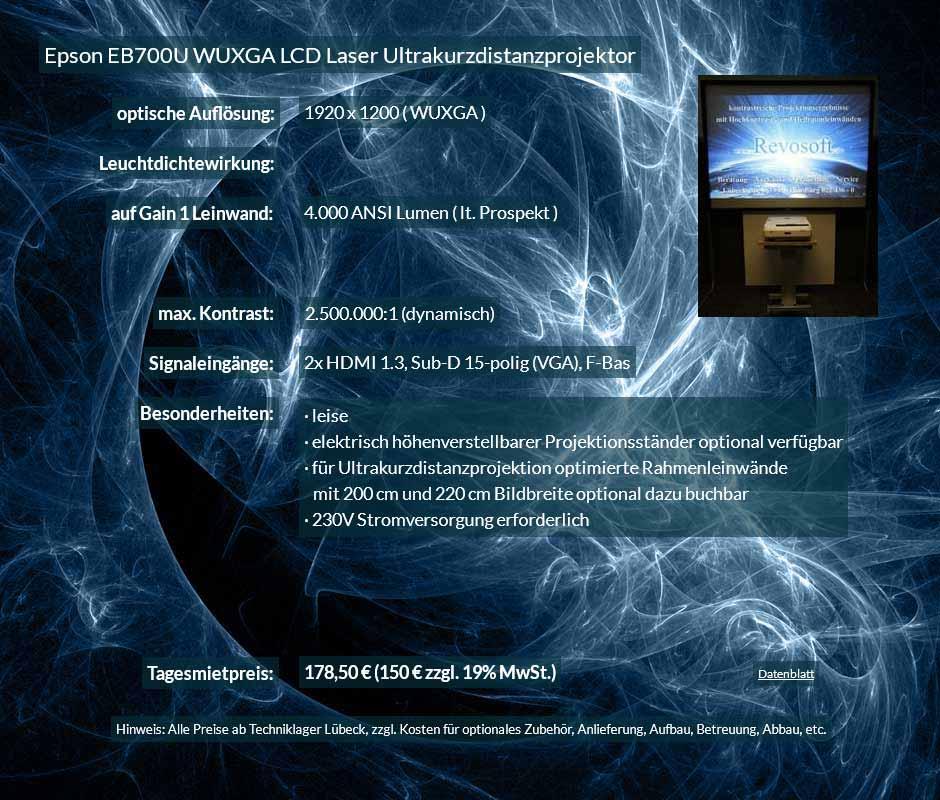 Mietangebot zur Ultrakurzdistanzprojektor Miete 4.000 ANSI Lumen LCD WUXGA Laser Ultrakurzdistanzprojektor vom Typ Epson EB700U zum Preis von 150 Euro + Mehrwertsteuer