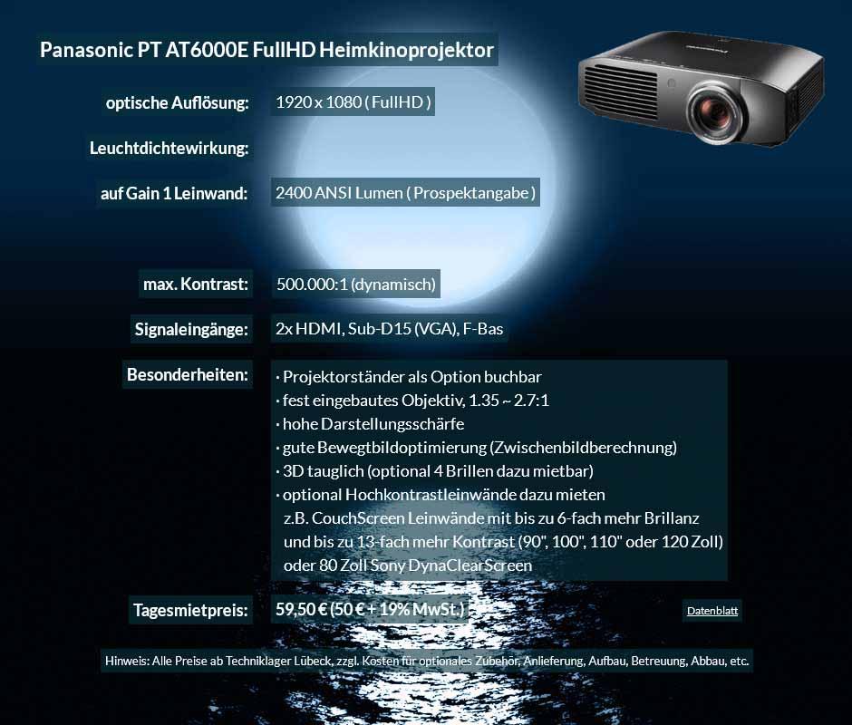 Mietangebot zum Projektor Ausleih Panasonic PT AT6000E FullHD Heimkinoprojektor zum Tagesmietpreis von 70 Euro + Mehrwertsteuer