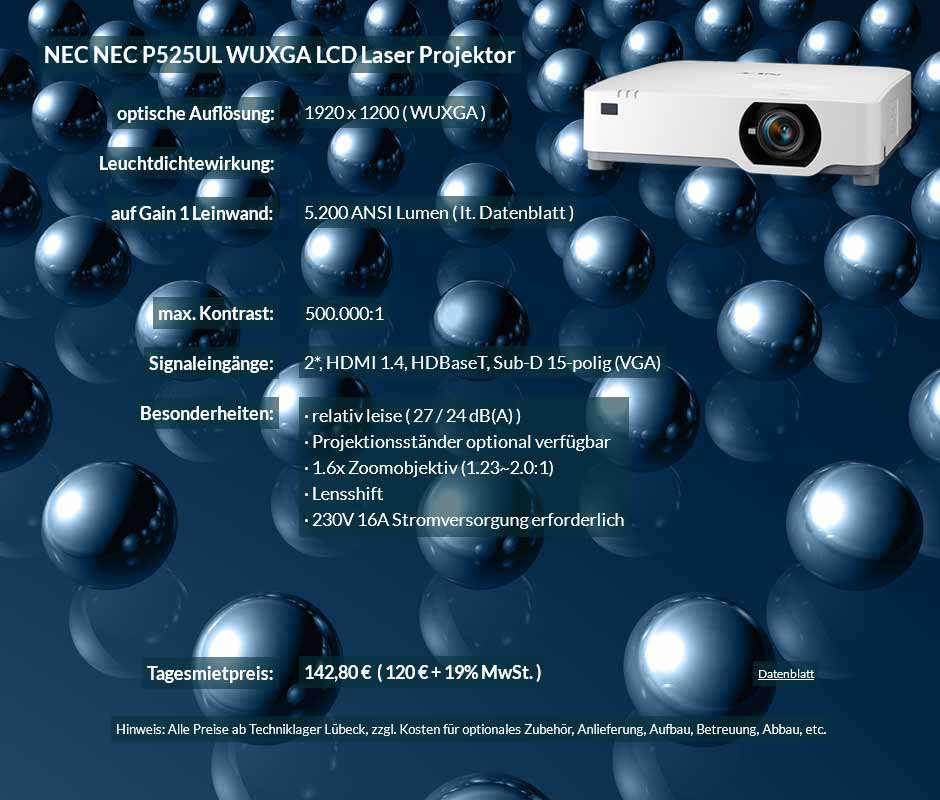 Mietangebot NEC-P525UL