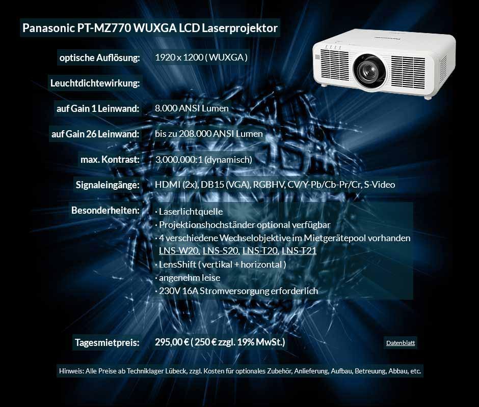 Mietangebot: WUXGA LCD Laserprojektor Panasonic PT MZ770