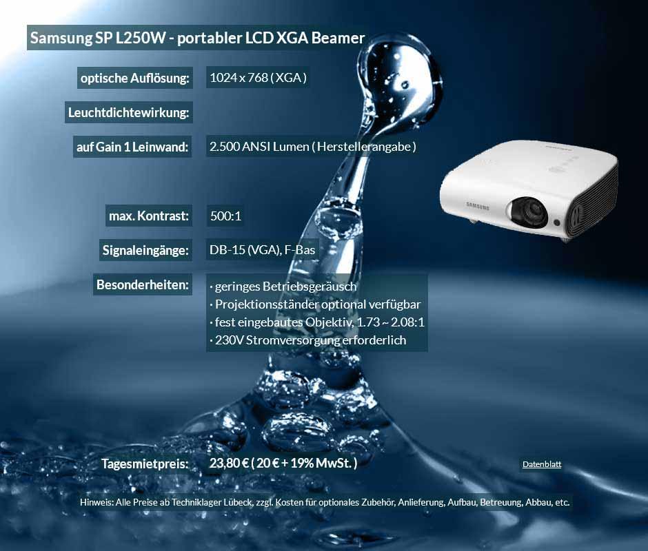 Mietangebot für Samsung SP L250W zu einem Mietpreis je Tag von 20 Euro + Mwsteuer
