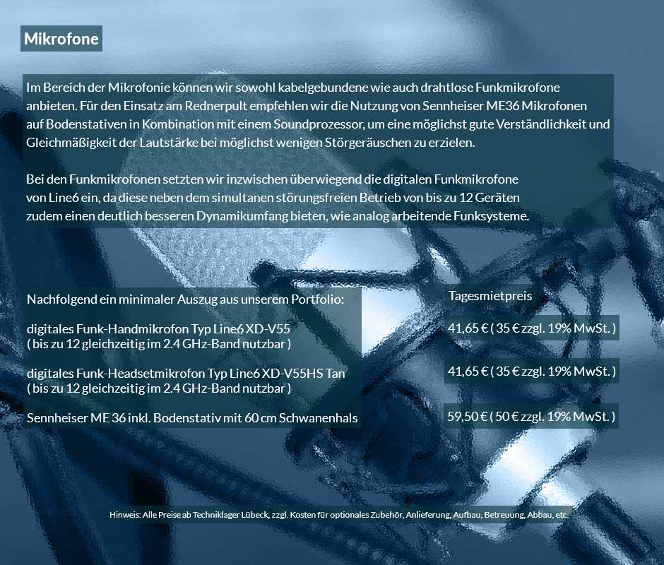 Handmikrofone und Headset als digitale Funkmikrofone im Mietgerätepool von Revosoft.