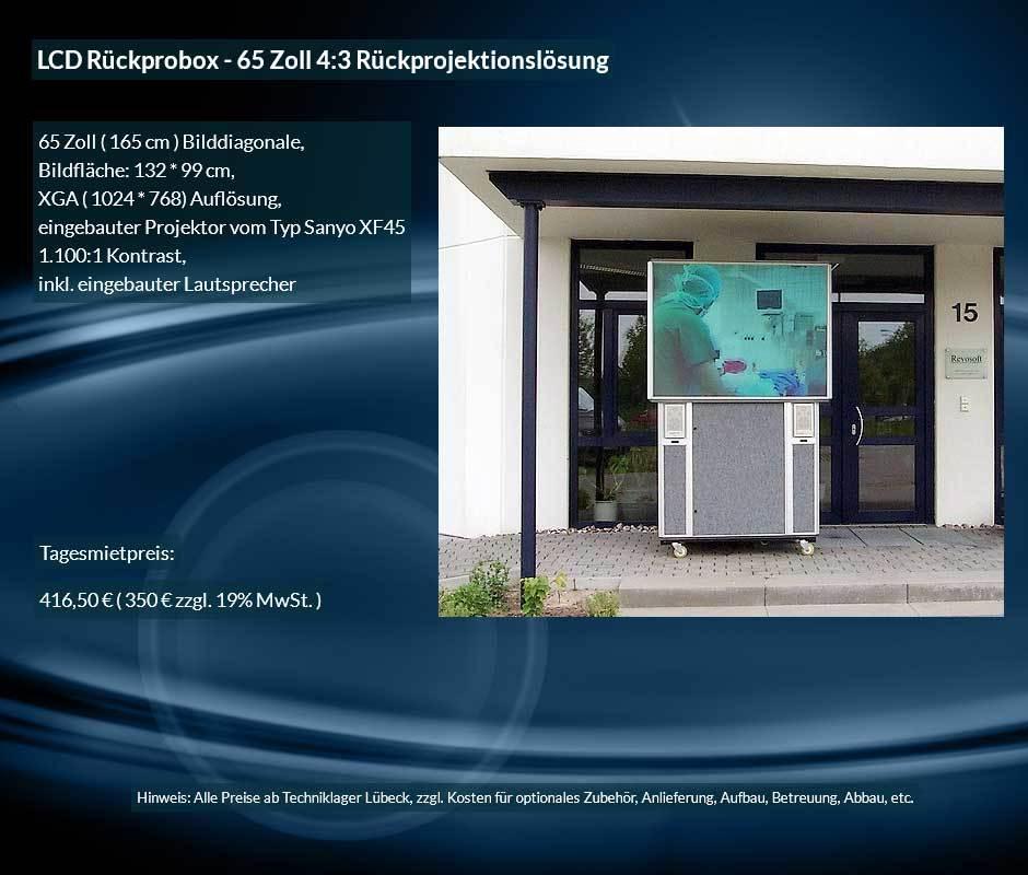 Mietofferte XGA 4:3 Rückprojektionsbox zu einem Tagesmietpreis ab 350 € netto