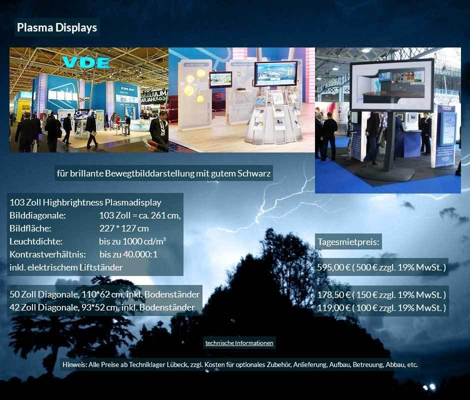 Mietangebot: Plasma Bildschirme von 42 bis 103 Zoll mit Tagesmietpreisen ab 100 € netto