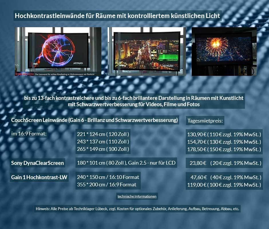 Hochkontrastleinwandvermietangebot für CouchScreen und Hochkontrastleinwände ab 20 € + Mehrwertsteuer