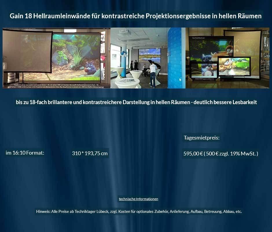 Leinwandvermietungsangebot für 310 cm breite Gain 18 Hellraumleinwand im 16:10 Format ab 500 € + MwSteuer