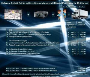 Veranstaltungsset 365x200 Hellraumleinwand + Sanyo 2K 7500 ANSI Lumen Projektor
