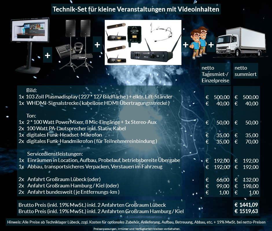 16:9 Veranstaltungstechnik-Mietangebot FullHD Plasmadisplay + PA Anlage + Mikrofone + Anlieferung Aufbau Übergabe Abbau Rücktransport