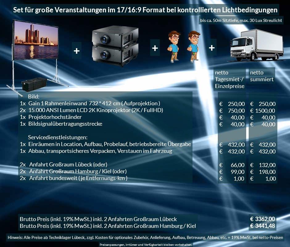 16:9 Veranstaltungstechnik-Mietangebot 2K / FullHD Projektoren 30000 ANSI Lumen + 732x412cm Gain 1 Faltrahmenleinwand + Anlieferung Aufbau Übergabe Abbau Rücktransport