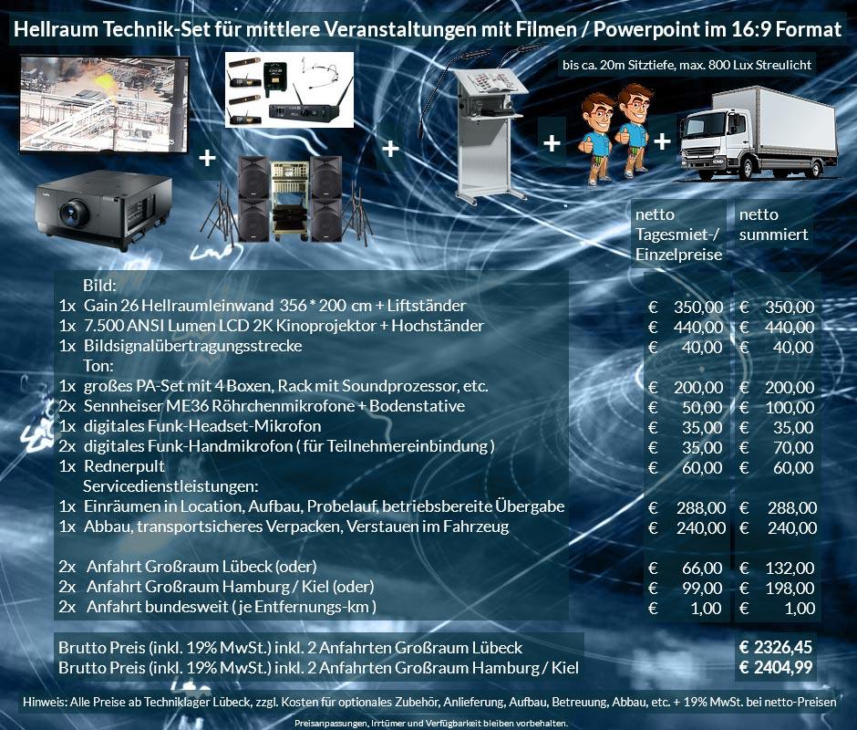 Veranstaltungsset 365x200 Hellraumleinwand + Sanyo 2K 7500 ANSI Lumen Projektor + Audio
