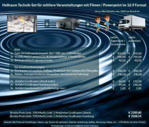 16:9 Veranstaltungstechnik-Mietangebot 2K / FullHD Projektoren 15000 ANSI Lumen + 356x200cm Gain 26 Hellraumleinwandleinwand + Anlieferung Aufbau Übergabe Abbau Rücktransport