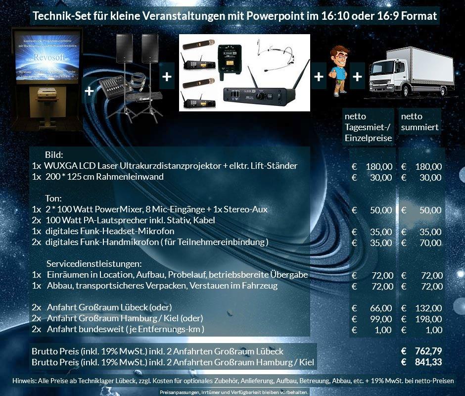 16:10 Veranstaltungstechnik-Mietangebot WUXGA LCD Laser Ultrakurzdistanzprojektor 4000 ANSI Lumen + 200x125 cm Rahmenleinwand + PA Anlage mit Mikrofonen + Anlieferung Aufbau Übergabe Abbau Rücktransport