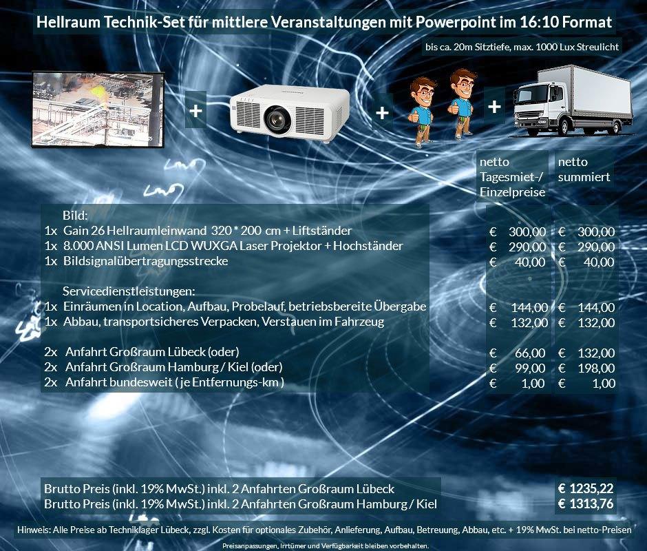 16:10 Veranstaltungstechnik-Mietangebot WUXGA LCD Laser Projektor 6500 ANSI Lumen + 320x200 cm Gain 26 Hellraumleinwand + Anlieferung Aufbau Übergabe Abbau Rücktransport