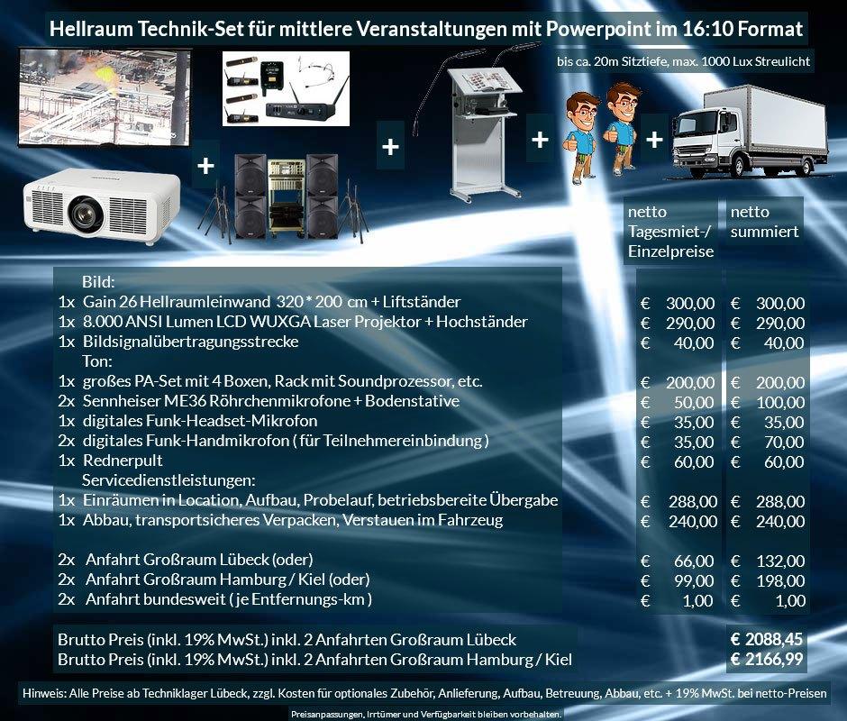 16:10 Veranstaltungstechnik-Mietangebot WUXGA LCD Laser Projektor 6500 ANSI Lumen + 320x200 cm Gain 26 Hellraumleinwand + PA Anlage + Mikrofone + Rednerpult + Anlieferung Aufbau Übergabe Abbau Rücktransport