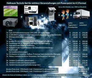 Veranstaltungsset 264x200 Hellraumleinwand + Panasonic PT-EX6k5 + Audio