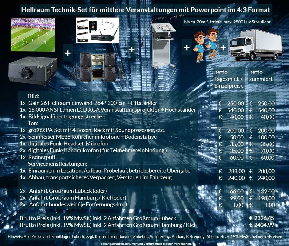 4:3 Veranstaltungstechnik-Mietangebot XGA Projektor 16000 ANSI Lumen + 264x200cm Gain 26 Hellraumleinwand + PA Anlage mit Mikrofonen + Rednerpult + Anlieferung Aufbau Übergabe Abbau Rücktransport
