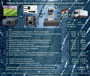 4:3 Veranstaltungstechnik-Mietangebot XGA Projektor 16000 ANSI Lumen + 264x200cm Gain 26 Hellraumleinwand + PA Anlage mit Mikrofonen + Rednerpult + 2x2m Podest + Anlieferung Aufbau Übergabe Abbau Rücktransport