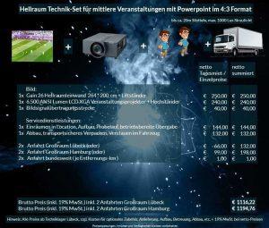 Veranstaltungsset 264x200 Hellraumleinwand + Panasonic PT-EX6k5