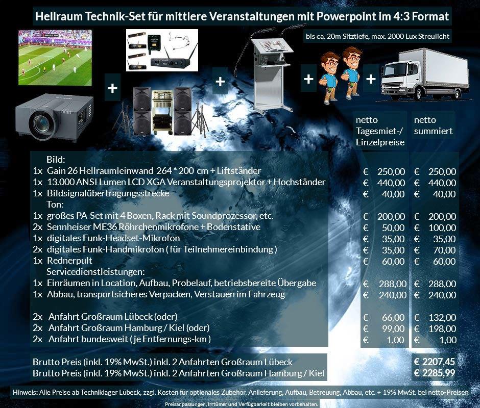 4:3 Veranstaltungstechnik-Mietangebot XGA Projektor 13000 ANSI Lumen + 264x200cm Gain 26 Hellraumleinwand + PA Anlage mit Mikrofonen + Rednerpult + Anlieferung Aufbau Übergabe Abbau Rücktransport