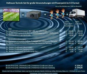 4:3 Veranstaltungstechnik-Mietangebot XGA Projektor 16000 ANSI Lumen + 400x300cm Gain 26 Hellraumleinwand + Anlieferung Aufbau Übergabe Abbau Rücktransport