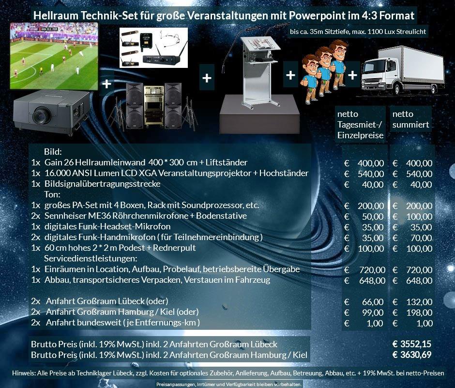 4:3 Veranstaltungstechnik-Mietangebot XGA Projektor 16000 ANSI Lumen + 400x300cm Gain 26 Hellraumleinwand + PA Anlage mit Mikrofonen + Rednerpult + 2x2m Podest + Anlieferung Aufbau Übergabe Abbau Rücktransport