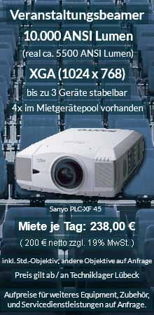Angebot zur Beamer Ausleihe: 10.000 ANSI Lumen XGA Veranstaltungsbeamer vom Typ Sanyo XF 45 inkl. großer Auswahl an Wechselobjektiven