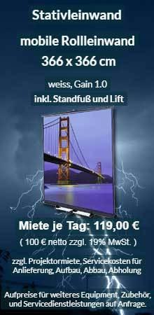 Angebot für Vermietung mobile 366x366 cm Stativrolloleinwand ab 100 Euro netto je Miettag