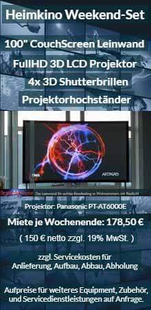 Vermietungsangebot CouchScreen Leinwand 3D Heimkinoprojektor Mietset