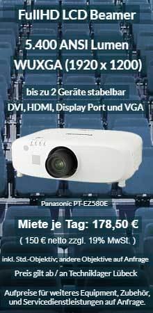 Projektor Mietangebot: Panasonic PT EZ580 WUXGA LCD Beamer mit 5400 ANSI Lumen.
